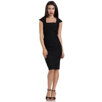Lillian Solid Black Pencil Dress