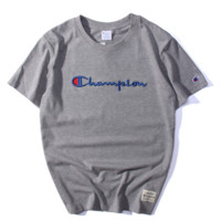 champion :letters embroidery Couple T-shirt top gray