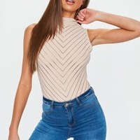 Missguided - Nude High Neck Chevron Bodysuit