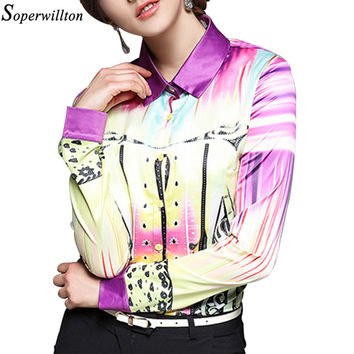 2017 New Women's Casual Floral Long Sleeve Vintage Blouse Turn Down Collar Shirt Blusas Feminino Ladies Blouses Womens Tops  6