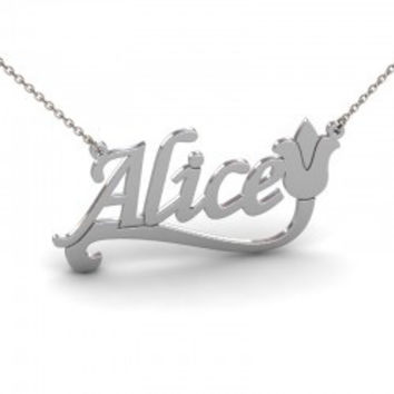 Sterling Silver Tulip Flower Name Necklace