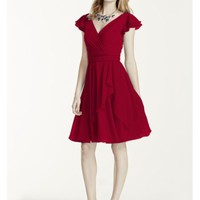 Short Flutter Sleeve Crinkle Chiffon Dress - Davids Bridal