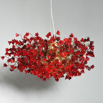 Hanging chandeliers. red jumping flowers.