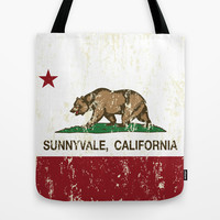 Sunnyvale California Republic Flag Distressed Tote Bag by NorCal