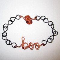 Boo Infinity Bracelet Wire Wrapped Black Orange Halloween