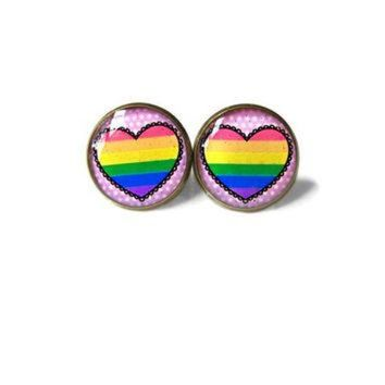 VONR3I Pastel Goth Pink Conversation Heart Gay Pride Flag Stud Earrings - Funny Antisocial So