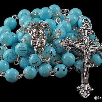 Traditional Rosary Catholic Turquoise Blue w Black Matrix Glass Bead Silver