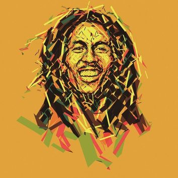 musician artistic bob marley low poly mosaic art Living room home wall art decor wood frame fabric poster KE792