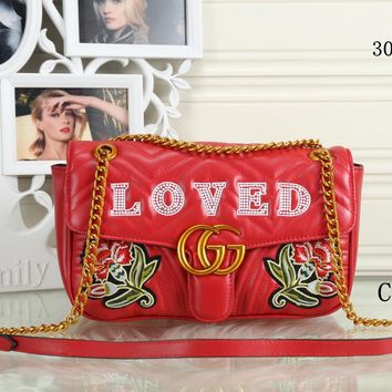 GUCCI 2018 new trend female models shoulder bag Messenger bag chain bag Red
