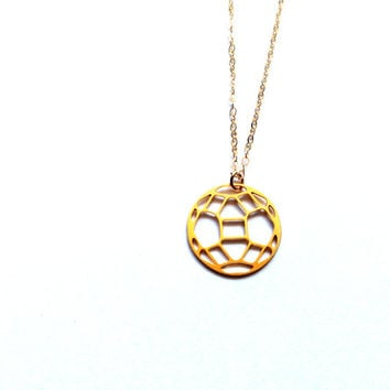 Geometric Earth Necklace Circle Icon Jewelry Design Chic Art Logo Necklace Beep Studio Jewellery Silver/Gold Small Pendant Miniature Minimal