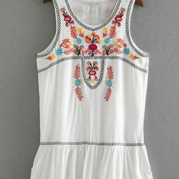 White Floral Embroidery Summer Dress