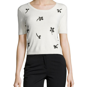 Short-Sleeve Crop Top W/ Floral Applique, Size: