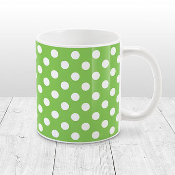 Green Polka Dot Mug - Stylish White Green Polka Dot Pattern, Green Mug - 11oz or 15oz - Made to Order
