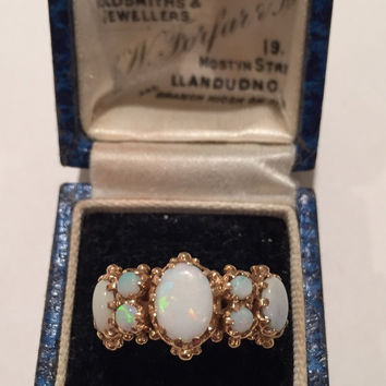 Vintage Opal Gold ring, 9 carat, ornate rare piece