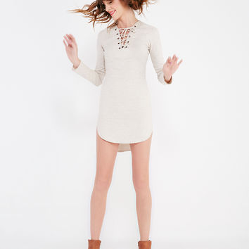 Ribbed Shirttail Dress With Lace-Up Neckline | Wet Seal