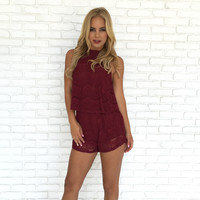 Inspired By Lace Romper In Burgundy