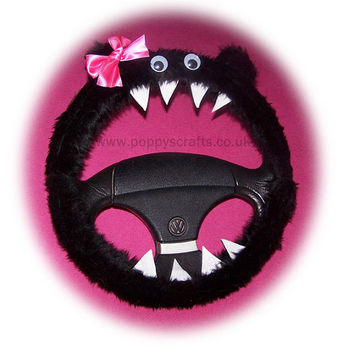 Monster black pink bow steering wheel cover faux fur fluffy furry fuzzy car truck van jeep cute googly eyes teeth dragon truck suv fun van