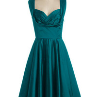 Trashy Diva Vintage Inspired Long Sleeveless Fit & Flare Aisle Be There Dress in Dragonfly