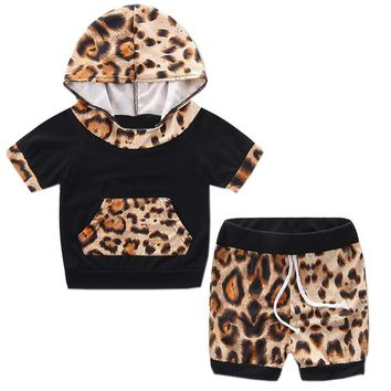 Leopard Newborn Baby Girl Summer Clothes Set Short Sleeve Hooded Top+Short Bottom 2PCS Outfit Clothing Set