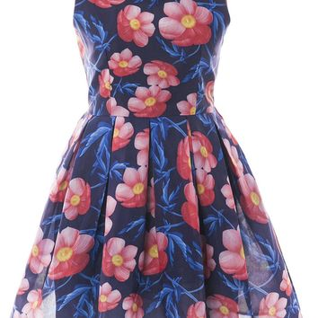 Streetstyle  Casual Sleeveless Round Neck Floral Printed Skater Dress