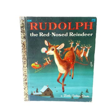 Vintage Rudolph the Red Nosed Reindeer Little Golden Book Richard Scarry Illustrations Childrens Christmas Story