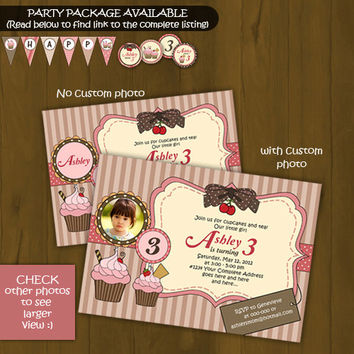 Cupcake Printable Birthday Invitation - Pink & Brown Cupcake birthday invitation - With or W/out custom photo