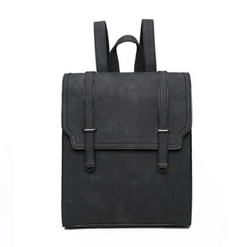Designed Brand Fashion Leather Backpack Solid Simple Women Backpack