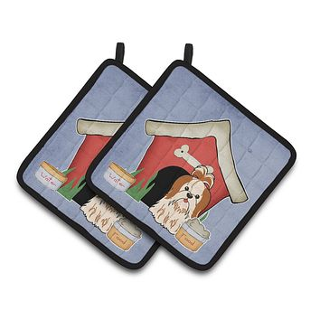 Dog House Collection Shih Tzu Red White Pair of Pot Holders