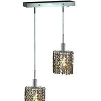 2-Light Chandelier, Chrome Finish with Golden Teak (Smoky) Royal Cut RC Crystal