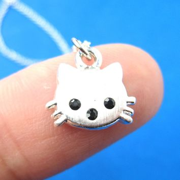 Tiny Kitty Cat Shaped Animal Charm Necklace in Silver | Animal Jewelry