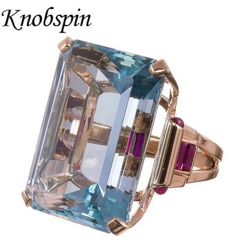 2018 New Hyperbole Fashion Rose Gold Color Women Rings with Big Stone Simple Blue Zircon Rings Women Party Jewelry bague femme