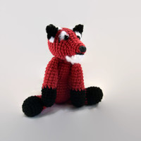 red fox crochet plush, fiber art doll, wooland creature, amigurumi, scented, custom, cotton, soft