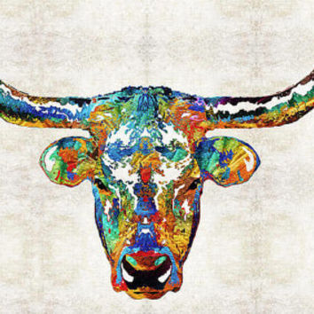 Longhorn Cow Art PRINT from Painting Primary Colors Cattle Farm Rustic Abstract Colorful CANVAS Ready 2 Hang Large Artwork Big Country Texas