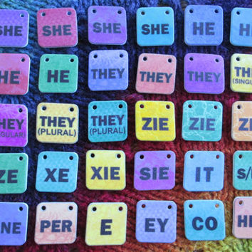 ADD-ON** - Genderfluid Pronouns Necklace - 1 or 2 Additional Charms