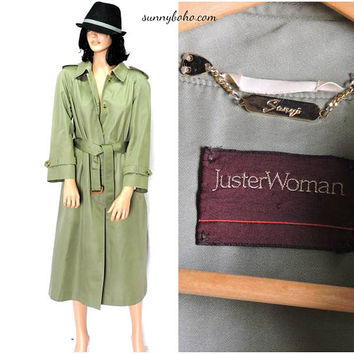 Vintage 70s trench coat / S / M / Sanyo for JusterWoman / khaki olive green trench / duster rain coat / full length trench coat
