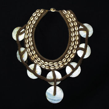 Vintage Tribal Necklace.Shell Ornament.New Guinea Ceremonial Braided Rope Necklace With White Shell Disc Drops And Small Cowrie Shells