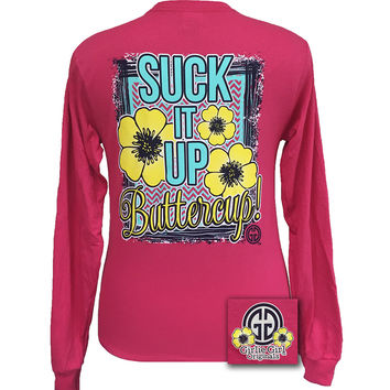 Girlie Girl Originals Suck It Up Buttercup Pink Long Sleeves T Shirt