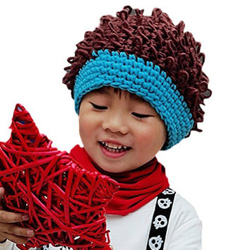 LOCOMO Baby Knit Crochet Rib Afro Bob Clown Wig Fake Hair Beanie Hat FBA037BLU