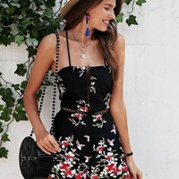 Embroidery Floral Playsuit