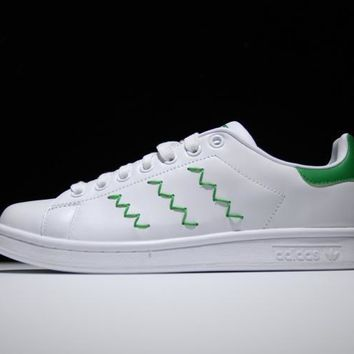 Adidas Originals Stan Smith Shoes Design Green Yarn-embroidered a027857ed3b7