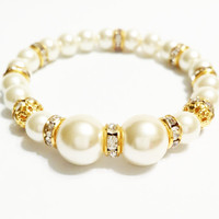 Ivory and Gold Bridesmaid Pearl Bracelet  / Flower Girl Pearl Bracelet