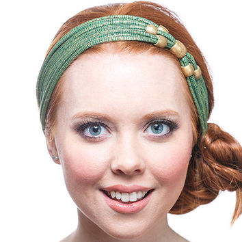 beaded headband, Vintage style headbands, green and gold headband, headbands for women, beaded hair accessories