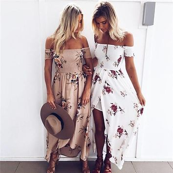 Boho Style Long Dress Women Off Shoulder Beach Summer Dress