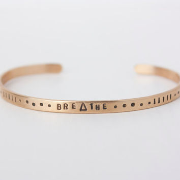 Breathe brass ultra thin cuff bracelet, pattern cuff bracelet, triangle bracelet, inspirational quote, yoga gift, zenned out, RTS CB011