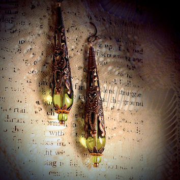 Antique Absinthe, copper filigree earrings, peridot green pressed glass drops, bead cone and caps, romantic, art nouveau, victorian, fairy