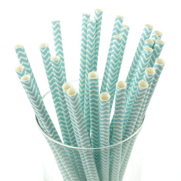 Chevron Paper Straws, 7-3/4-inch, 25-pack, Light Blue
