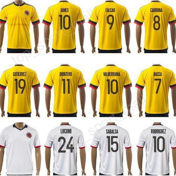 2017 Soccer Colombia Jersey Copa Ameirca 9 Radamel Falcao Football Shirt Kits 10 James
