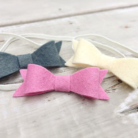 Pink Felt Bow Headband, Gray felt Bow headband, baby headband set, Felt Bow Headband set