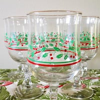 Set of 6 Holly and Berry Water Goblets, Arby's Promotional Holiday Wine Glasses, Vintage Christmas Wine Glasses, Libbey Holiday Goblets