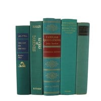 Green Decorative Books for Decor Curated with Vintage Books, S/5